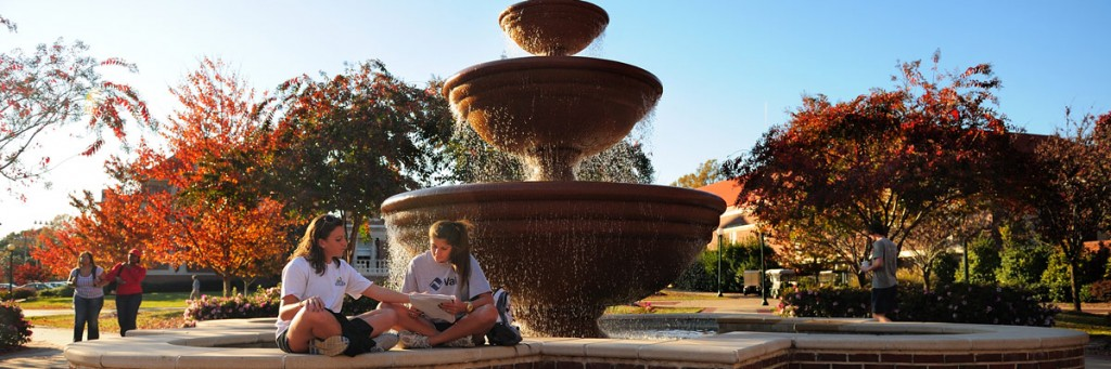 The Phi Mu fountain with water flowing over.