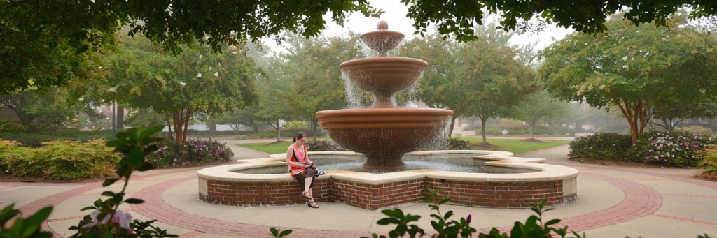 Student sitting on the edge of the Phi Mu fountain